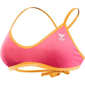 TYR Solid Crosscut Tieback Bikini Top Dam fluo pink/orange